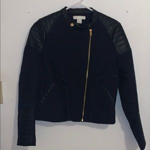 H&M Dark Navy Jacket with Faux Leather Lining